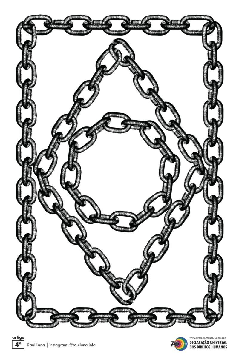 Artigo 4º: Ninguém será mantido em escravidão ou servidão; a escravidão e o tráfico de escravos serão proibidos em todas as suas formas. (Raul Luna)