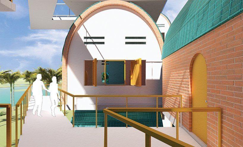 A casa de árvore econômica usa matéria-prima local e energia solar