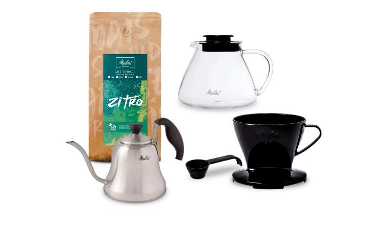 kit com filtro, café