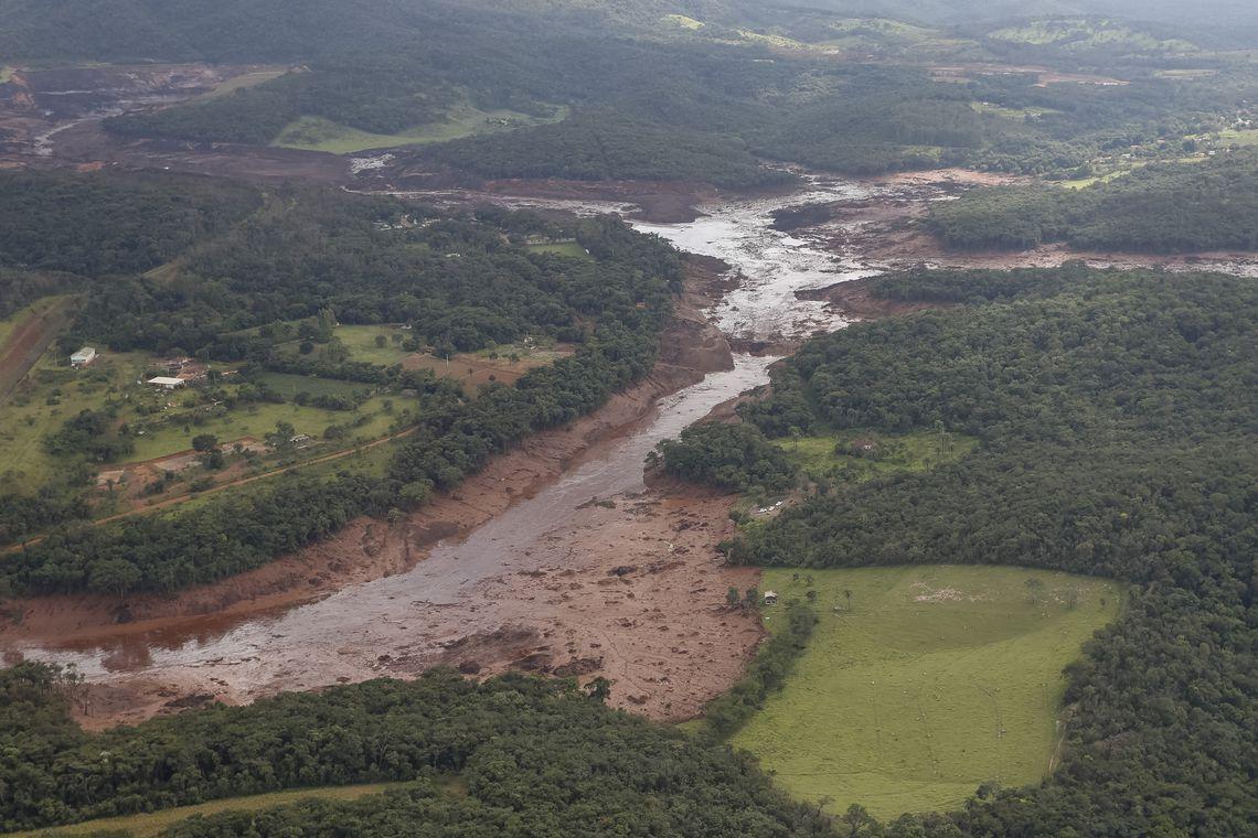 Região atingida pelo rompimento da barragem da Vale em Brumadinho, Minas Gerais.