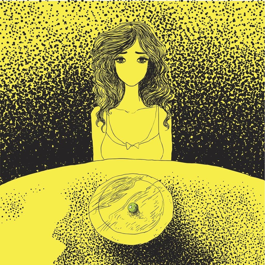 ilustração de uma mulher sentada na mesa com o prato vazio