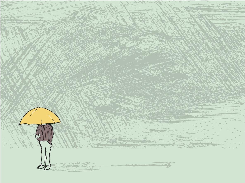 ilustração mostra um homem com um guarda-chuva sozinho