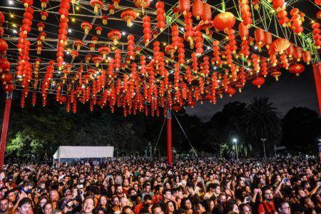 Lanternas chinesas em celebração ao ano novo chinês