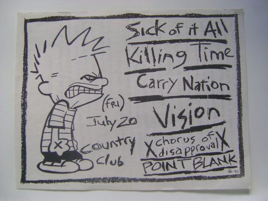 calvin, de calvin e haroldo, é destaque de um cartaz punk