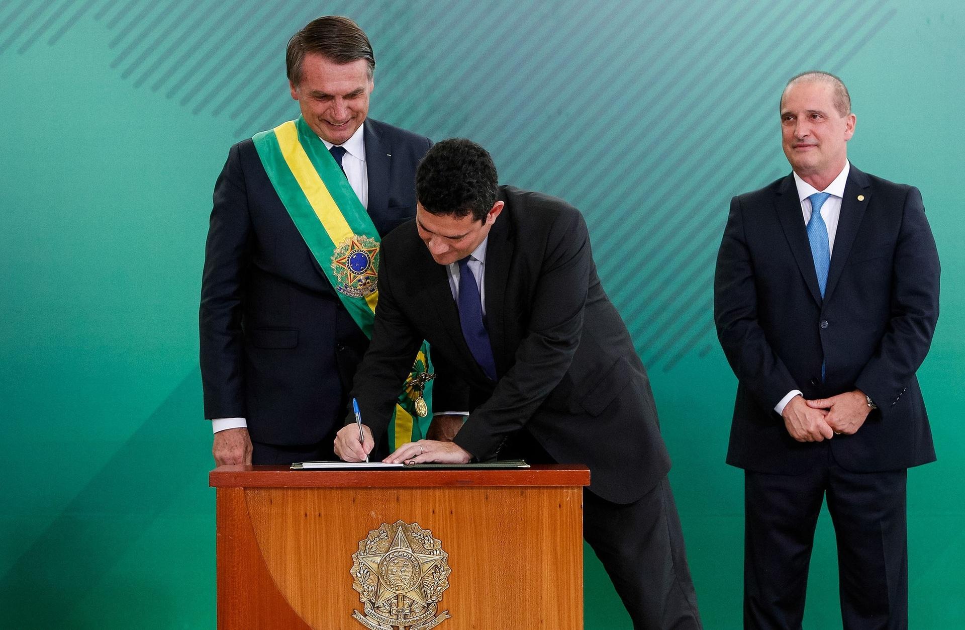 Sérgio Moro, assume cargo como ministro da Justiça e Segurança Publica do governo Bolsonaro.