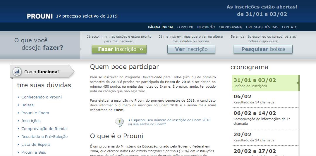print da tela inicial do site do Prouni