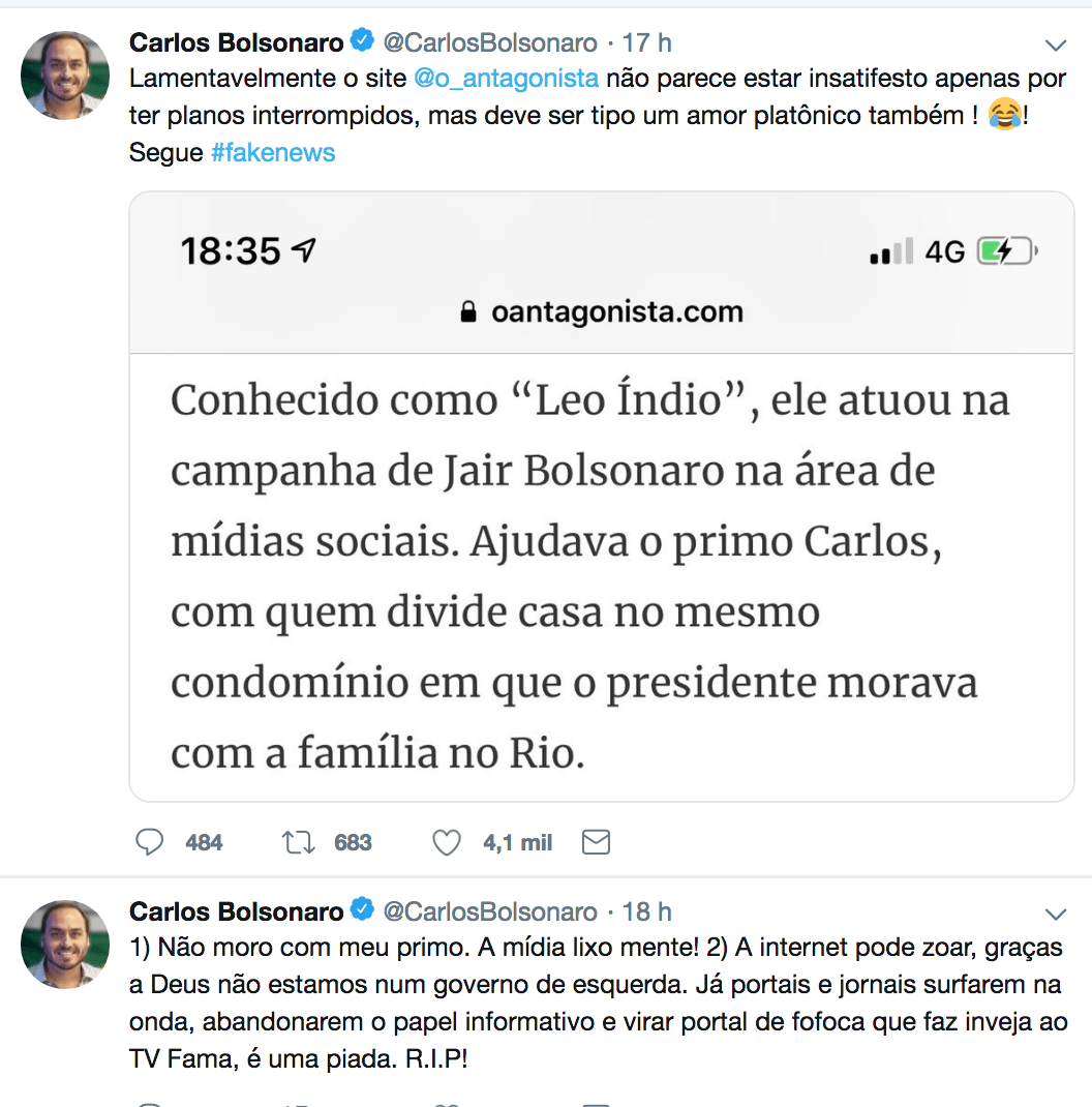 Política desmistificada  Carlos Bolsonaro nega insinuação de que é ... 95a8515c0da71