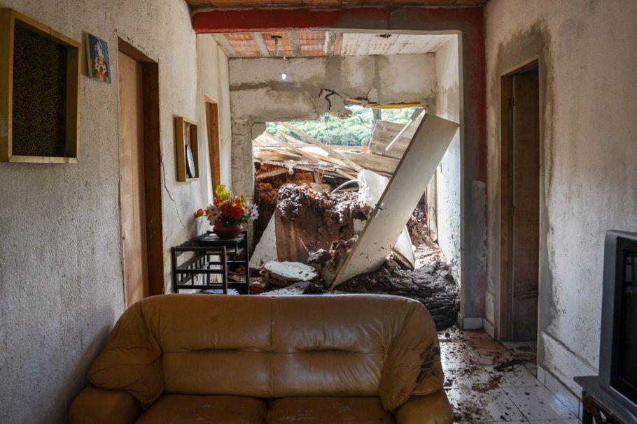 Casa afetada pelo rejeito de Brumadinho