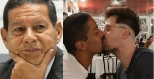 Protesto? Ator beija namorado em frente a vice de Bolsonaro