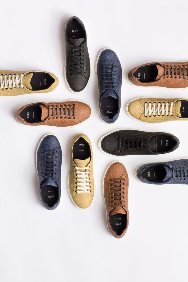 O sapato de couro de abacaxi da Hugo Boss é vendido em diversas cores