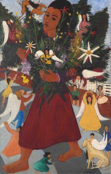 """Quadro """"Vendedora de Flores"""" (1947), de Djanira Motta e Silva"""