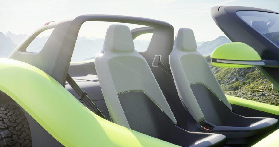 O interior do buggy elétrico é à prova de água