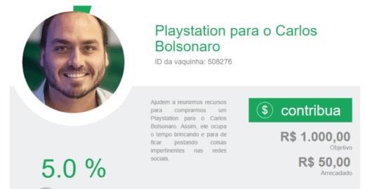 Vaquinha de game para  filho de Bolsonaro vira deboche na rede
