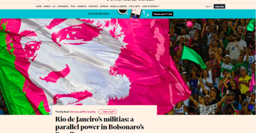 Milícias detonam Bolsonaro num dos melhores jornais do mundo