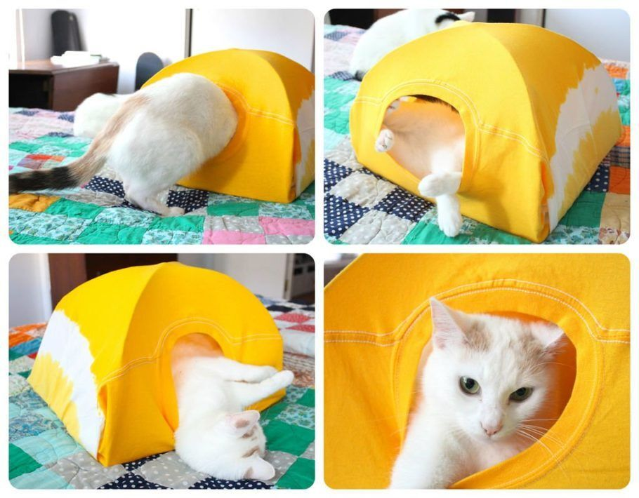 A casa para gato feita de camiseta vai aliviar o guarda-roupas e alegrar o bichano ao mesmo tempo