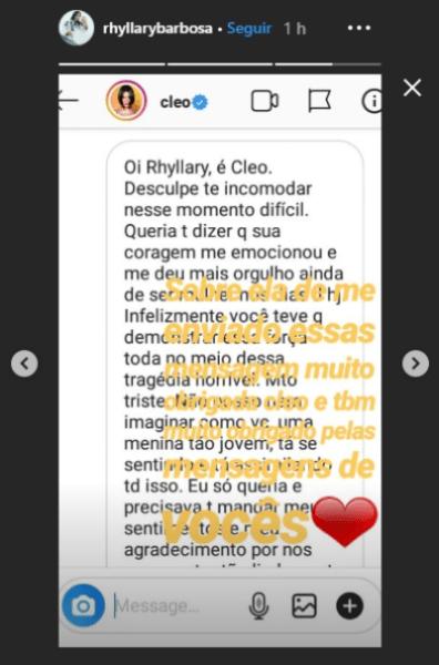 A atriz e cantora Cleo enviou mensagem pessoal à estudante Rhyllary Barbosa