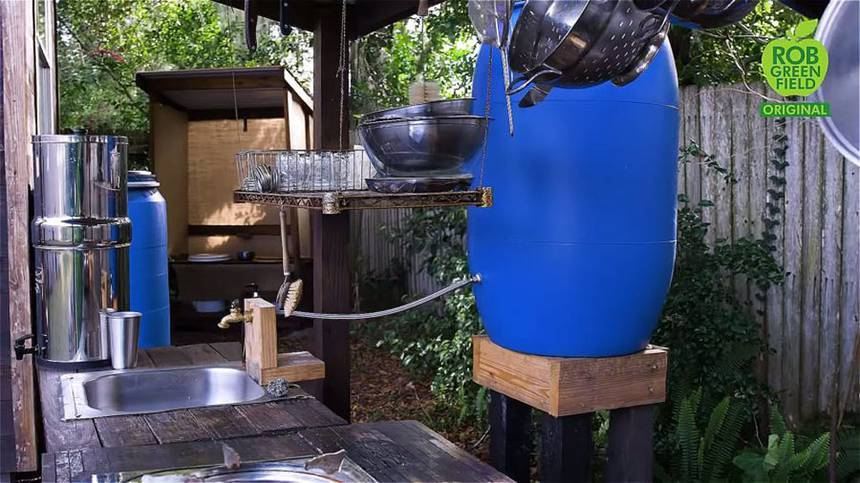 A água usada na cabana é a de chuva