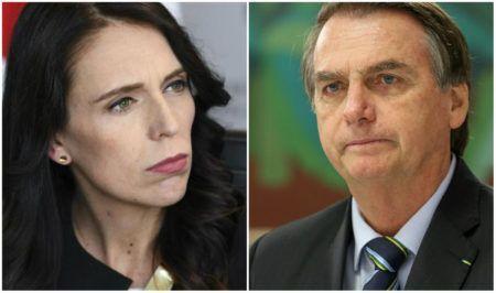 Jacinda Ardern, primeira-ministra da Nova Zelândia e Jair Bolsonaro, presidente do Brasil