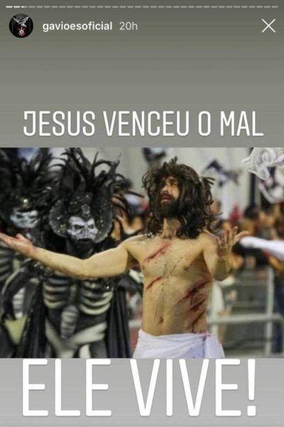 Slide nos stories da conta oficial do Instagram da Gaviões da Fiel mostra Jesus vitorioso em resposta à polêmica do desfile do Carnaval 2019