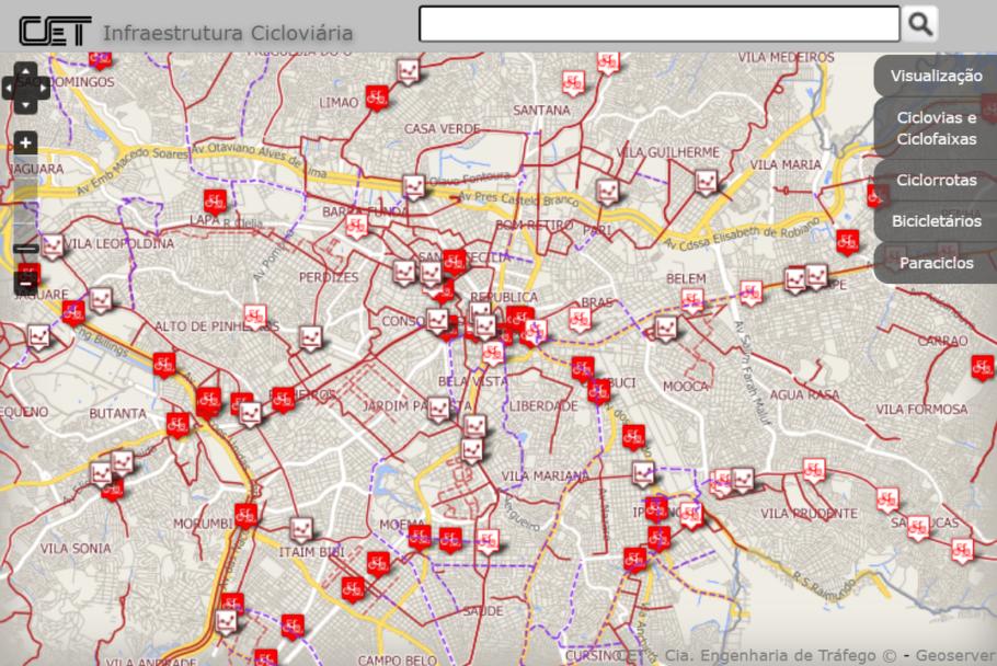 Parte do mapa cicloviário da cidade de São Paulo
