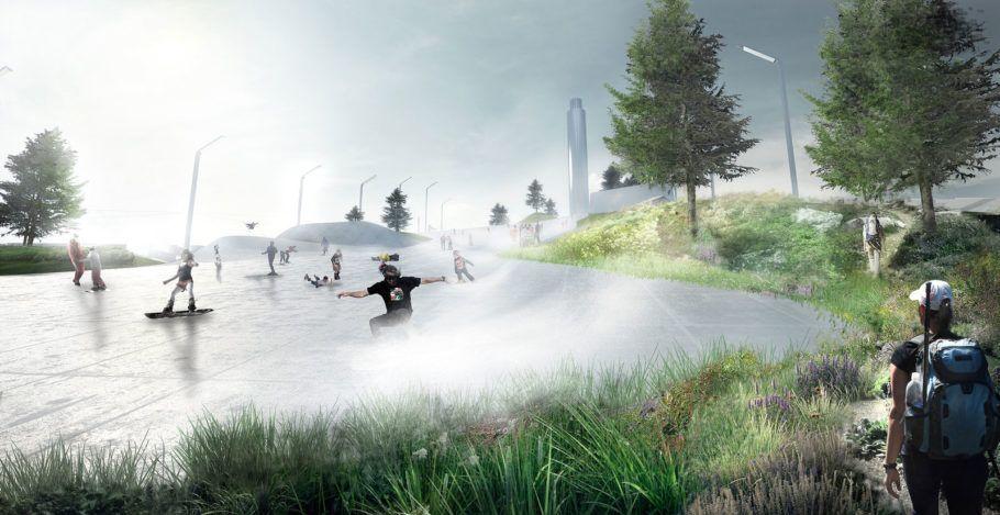 A pista de esqui foi projetada no telhado da usina que transforma lixo em energia