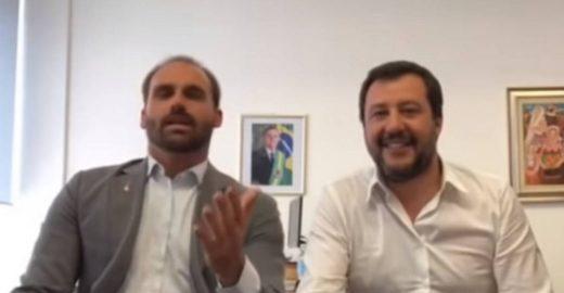 Filho de Bolsonaro comete gafe em fala com vice-premier italiano