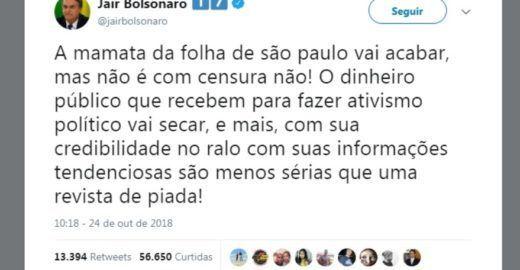 Dimenstein: Bolsonaro vai ter de engolir a Folha. Talvez agora.