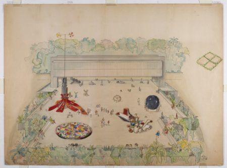 Lina Bo Bardi_Estudo preliminar – esculturas praticáveis do belvedere Museu de Arte Trianon, 1968_Nanquim e aquarela sobre papel, 56,3 x 76,5 cm_