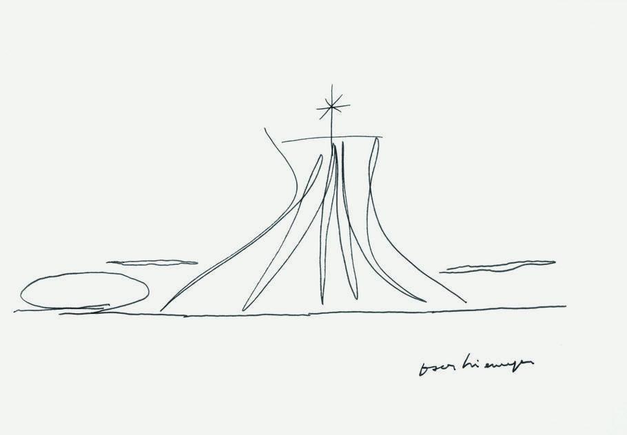 Oscar niemeyer, Sem título (catedral de Brasília), S_d, caneta hidrográfica sobre papel, 33 x 48 cm