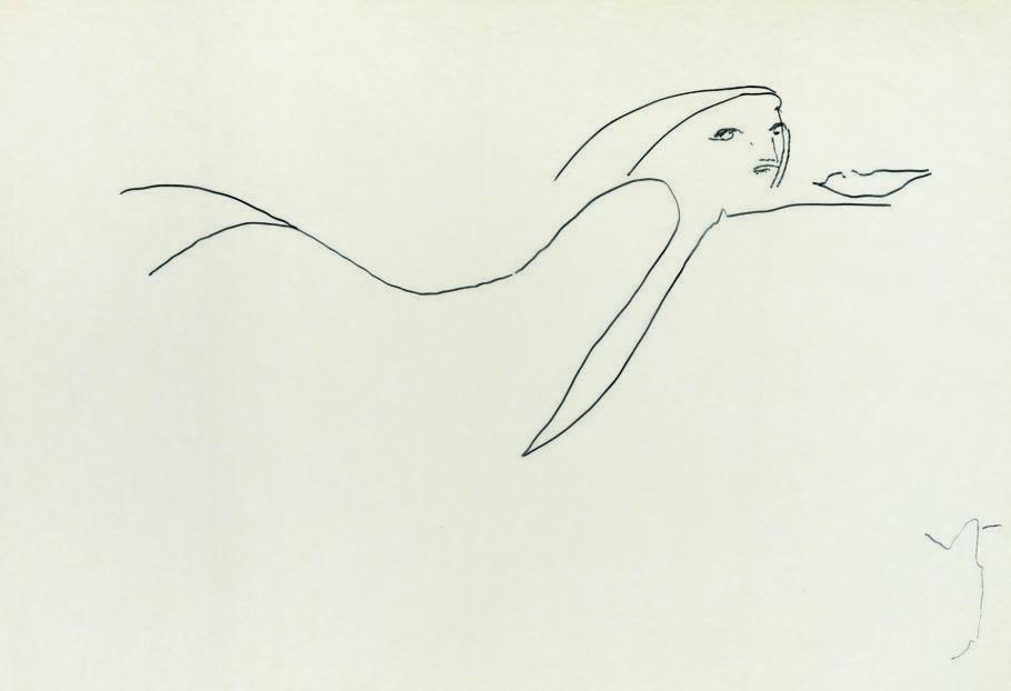 Oscar Niemeyer, Sem título (mulher IV), caneta hidrográfica sobre papel, 70 x 100 cm