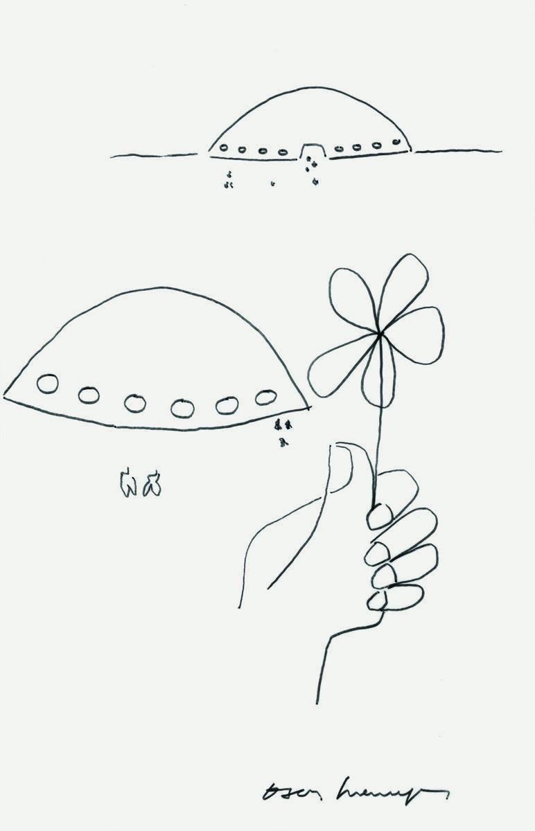 Oscar Niemeyer, Sem Título (pavilhão 'oca', são paulo), s_d, caneta hidrográfica sobre papel vegetal, 41,5 x 26 cm