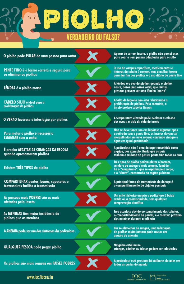 infográfico com várias informações sobre piolho