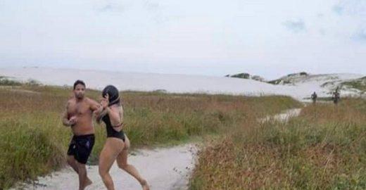 Homem se masturba na praia e apanha de lutadora de MMA