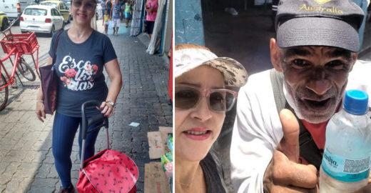Mulher distribui água gelada para moradores de rua no Rio