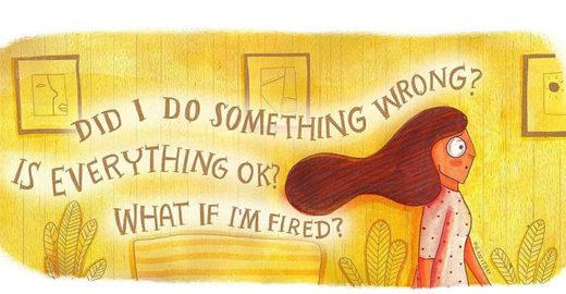 Ilustrações divertidas mostram emoções de uma pessoa ansiosa