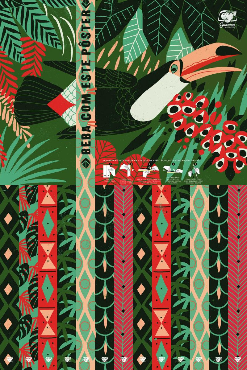O tucano é uma das estrelas dos cartazes que se transformam em canudos de papel