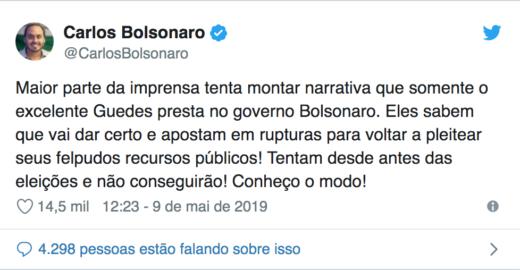 Mais um erro de português de Carlos Bolsonaro vira piada na web
