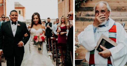 Noiva é conduzida pelo pai e tem cerimônia realizada por padrasto
