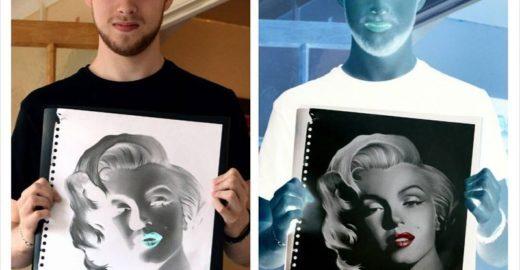 Jovem faz desenhos de negativos a lápis e cria efeito diferente