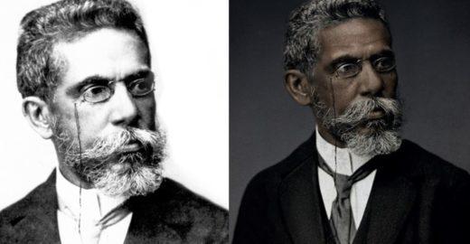 Ação recria foto de Machado de Assis com a pele e traços negros