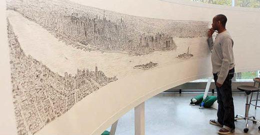 Autista memoriza e desenha NY depois de 20 min de voo pela cidade
