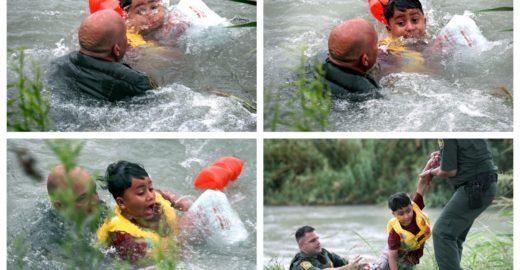 Fotos mostram resgate dramático de menino na fronteira México-EUA