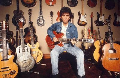 No seu iPad, as guitarras de George Harrison