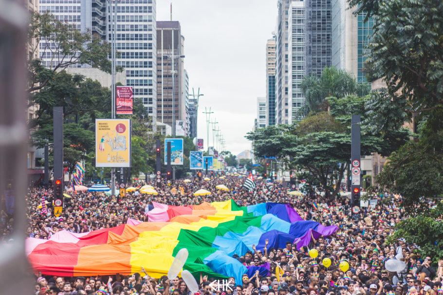 Parada LGBT de São Paulo na Avenida Paulista