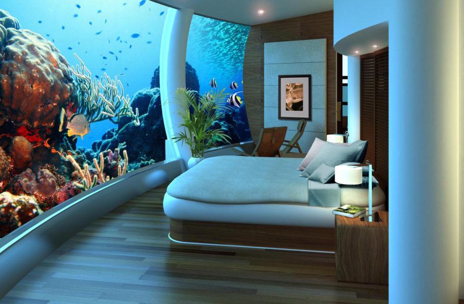 Um dos quartos panorâmicos do Poseidon Undersea Resort,
