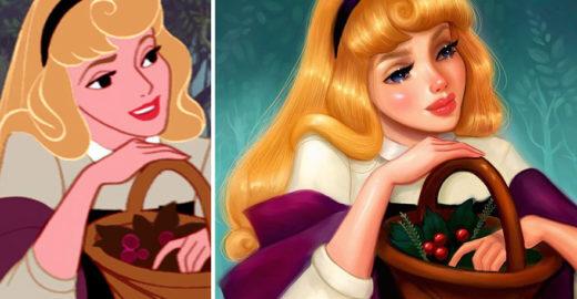 Ilustradora faz sua própria versão de personagens da Disney