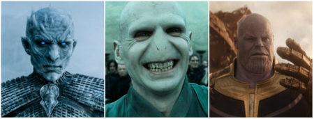 Da esquerda para direita: Rei da Noite, Voldemort e Thanos