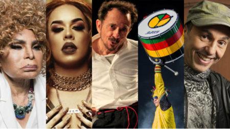 montagem com Elza Soares, Gloria Groove, Tom Zé, Olodum e Zeca Baleiro que se apresentam na Virada Cultural
