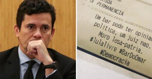 Bar no Rio coloca frase 'Moro lesa-pátria' em cupom fiscal e viraliza