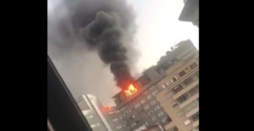 Incêndio atinge o andar superior do Hospital do Coração